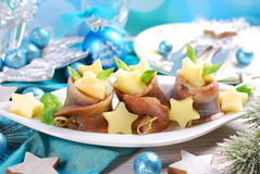Herring rolls with sour cream ,apple and potato for christmas Royalty Free Stock Photography