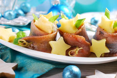 Herring rolls with sour cream ,apple and potato for christmas Royalty Free Stock Images