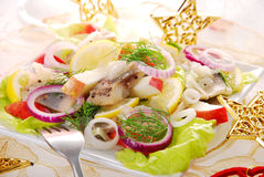 Herring salad with apple Royalty Free Stock Images