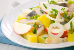 Herring salad with apple and potato Royalty Free Stock Photo