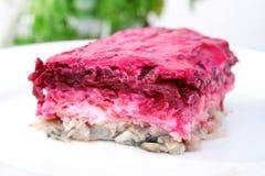 Herring salad beetroot Stock Photo