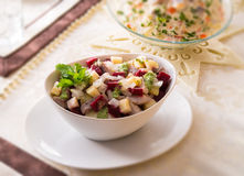 Herring salad with beetroot - selective sharpness-deep Royalty Free Stock Photo
