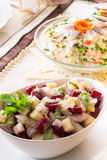 Herring salad with beetroot - selective sharpness-deep Royalty Free Stock Photography