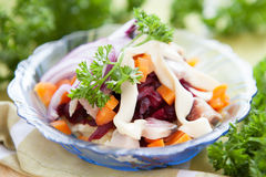 Herring in a salad with beets and carrots Stock Photography