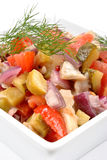 Herring salad  in a bowl. Some fresh organic herring salad  in a bowl royalty free stock image
