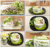 Herring salad and fresh cabbage Royalty Free Stock Photos