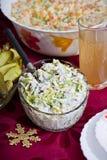 Herring salad with leeks. Traditional polish herring salad with leeks served on christmas Royalty Free Stock Photography
