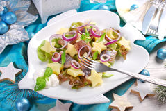 Herring salad with sour cream ,apple and potato for christmas Royalty Free Stock Image