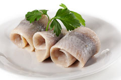 Herring served with persil Royalty Free Stock Image