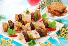 Herring skewers for christmas Royalty Free Stock Images