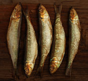 Herring sprat fish smoked on  wooden table Stock Images