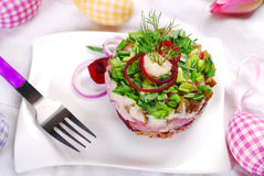 Herring tartar with beets and chive for easter Stock Images
