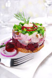 Herring tartar with beets and chive Stock Images