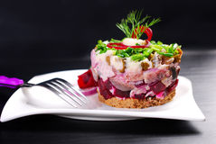 Herring tartar with beets and chive Stock Photography