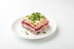 Herring under beetroot and mayonnaise in a white ceramic plate. Horizontal Stock Image