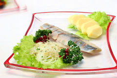 Herring with vegetables. Dish with herring and vegetables Stock Images