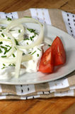 herring in yogurt sauce on a white plate Royalty Free Stock Photos