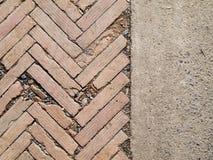 Herringbone brickwall and Stone bract pattern Royalty Free Stock Photo