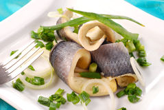 Herrings with chive Royalty Free Stock Images