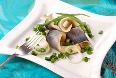 Herrings with chive royalty free stock photography