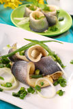Herrings with chive. Herring fillets with chive on white plate stock photos