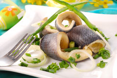 Herrings with chive  for easter Royalty Free Stock Photos
