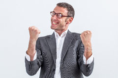 Herrischer Geschäftsmann mit der Körpersprache, die Frustration ausdrückt lizenzfreie stockfotografie