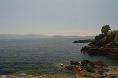 Herrliche Aussichten der Bucht in Sanjenjo lizenzfreies stockbild