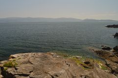 Herrliche Aussichten der Bucht in Sanjenjo stockbild