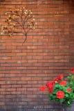 Herrliche Backsteinmauer mit dekorativem Metallbaum und Blumentopf Stockbilder