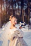 Herrliche blonde Braut im Hochzeitskleid mit Blumenstrauß von blauen Rosen mit Baumwolle im Winterpark Stockfotografie