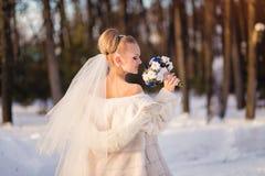 Herrliche blonde Braut im Hochzeitskleid mit Blumenstrauß von blauen Rosen mit Baumwolle im Winterpark Stockbild