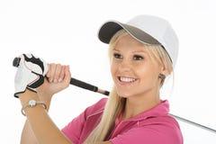 Herrliche blonde Golfspieler-Dame Stockfotos