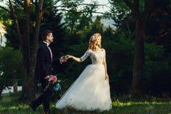 Herrliche blonde junge Braut und reizend Bräutigamhändchenhalten an Stockbilder