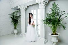 Herrliche Braut im Luxushochzeitskleid Braut Lizenzfreies Stockfoto