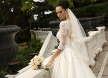 Herrliche Braut mit dem dunklen Haar trägt elegantes Hochzeitskleid Lizenzfreies Stockbild