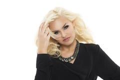 Herrliche elegante blonde Frau Stockfoto