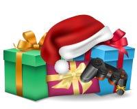 Herrliche Feiertagskarte mit Geschenken, Sankt-Hüten und gamepad Weihnachtsschablone mit Geschenken stock abbildung