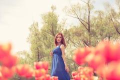 Herrliche Frau auf dem roten Tulpenblumengebiet Stockfotografie