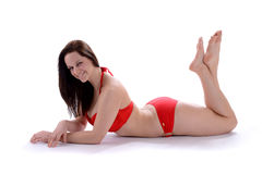 Herrliche Frau im sexy roten Badeanzug stockfotos