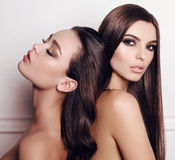 Herrliche Frauen mit Make-up des dunklen Haares und des Abends Lizenzfreies Stockbild