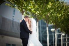 Herrliche glückliche blonde Braut und eleganter Bräutigam auf dem Hintergrund Lizenzfreie Stockbilder