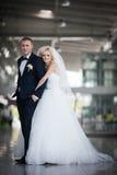 Herrliche glückliche blonde Braut und eleganter Bräutigam, die auf dem BAC umarmt Stockbild