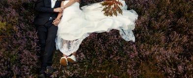 Herrliche Hochzeitspaare, die im Sonnenlicht das Lügen in Heide m umfassen lizenzfreie stockfotografie