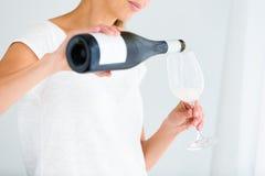 Herrliche junge Frau mit einem Glas Wein Lizenzfreie Stockbilder