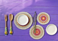 Herrliche Mandala Crochet Doilies, Tischbesteck Stockbild