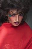 Herrliche Schönheitsfrau, die einen roten Schal trägt Lizenzfreie Stockfotos