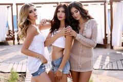 Herrliche sexy Frauen in der zufälligen Kleidung, die auf Strand aufwirft Lizenzfreie Stockbilder