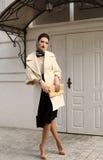 Herrliche sinnliche Frau mit dem dunklen Haar im eleganten luxuriösen Mantel stockfotografie