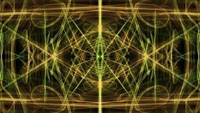 Herrliche weiche Verzierung in der Tunnelbewegung Grüne magische helle Fractalmuster auf schwarzem Hintergrund Livemandala für vektor abbildung